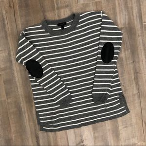 J. Crew striped merino wool elbow patch sweater